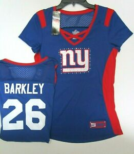 check out 08867 58afb Details about Barkley New York Giants Women's Majestic NFL Draft Me Jersey  Top Shirt $55