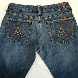7-For-All-Mankind-Denim-Jeans-Tag-27-Actual-28-Med-Wash-A-Pocket-Low-Rise-Flare