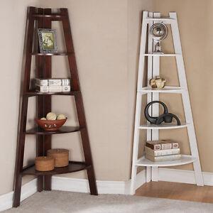 A imagem est carregando Walnut-White-5-Tier-Corner-Shelf -Bookcase-Bookshelf-