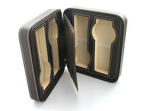 Competent 4 Watch Brown Leatherette Travel Zipper Case large Size Wc-1150dbr Colours Are Striking