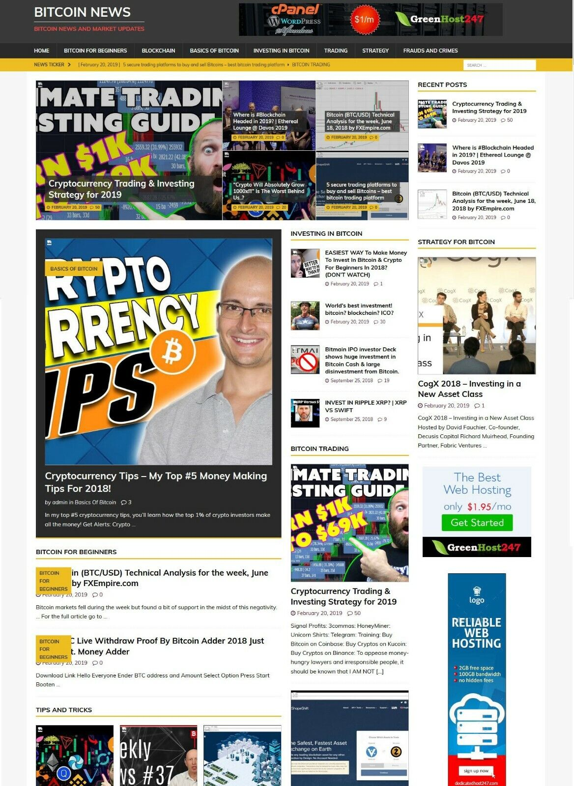 Bit coin News Website - Runs on AutoPilot + Free Install + Hosting 1