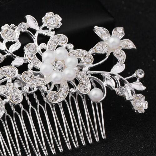 Fiore Capelli Sposa Pins Damigella Cristallo Diamante Pettine Clip Perle Da Sposa Regno Unito