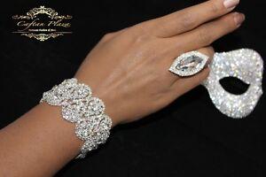 Edeles Xxl Luxus Strass Armband Breit Brautschmuck Bracelet Hochzeit Silber Plt.