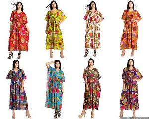 Indian-Cotton-Floral-Printed-Beach-Wear-Casual-Maxi-Dress-Kaftan-Boho-Plus-Size
