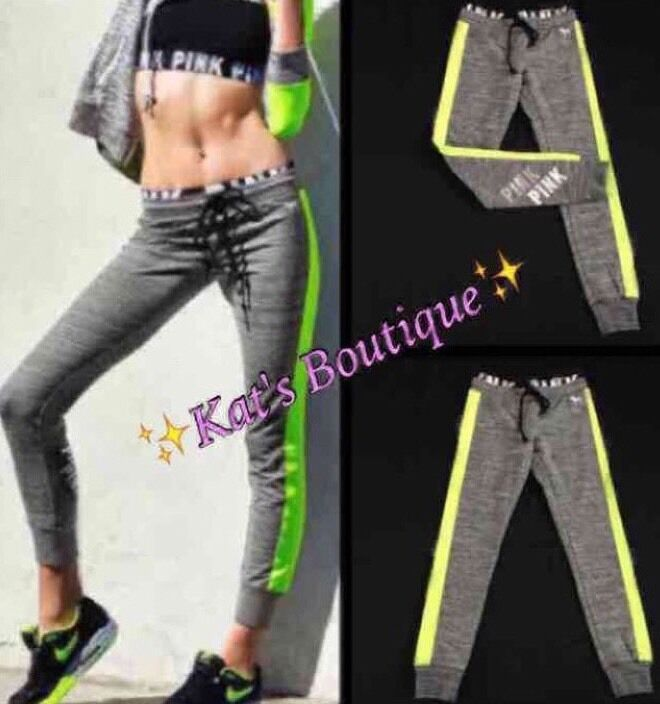 ⭐️NEW⭐️Victoria's Secret  PINK  Gym Pants in Yellow & Grey, EXTRA SMALL