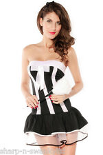 Ladies Sexy French Maid Housekeeper Rocky Horror Fancy Dress Costume Outfit 8-12