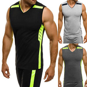Men-Muscle-Tank-Top-Shirts-Sleeveless-V-Neck-Gym-Tee-workout-Casual-Fitness-Vest