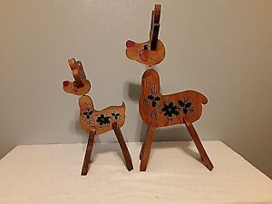 Details About Holiday Reindeer Wooden Hand Painted Collectable Pieces Decorations