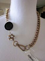 Banana Republic Gold Chain Necklace Black Disc Rhinestone Crystal U.s.seller