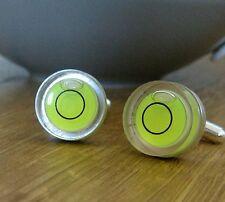 Green Spirit Level Circle Cufflinks