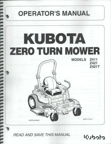 Kubota  Z411 Z421 Z421T Zero-Turn Mower Operator Manual