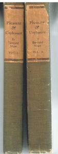 Pleasant-amp-Unpleasant-by-Bernard-Shaw-1913-Vol-1-amp-2-Rare-Antique-Books