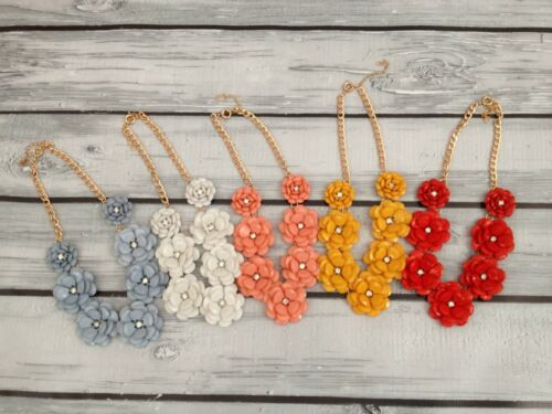 Beaded Rose flower crew statement necklace crystal J style US Seller Coral Red