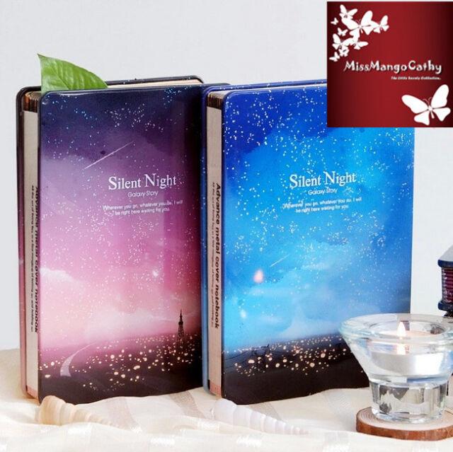 """Silent Night"" 1pc Metal Cover Luxury Diary Sketchbook Journal Planner Notebook"