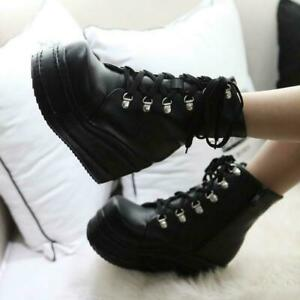 Womens-Punk-Ankle-Boots-Platform-Lace-up-Creepers-High-Wedge-Heel-Gothic-Shoes