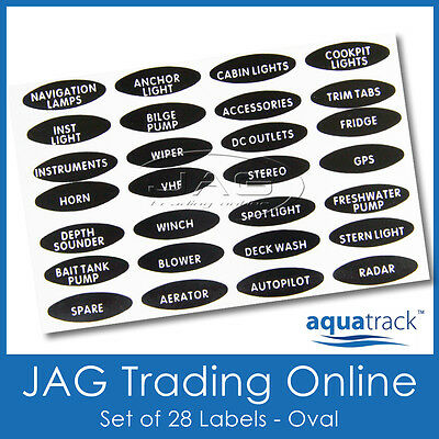 SET OVAL SWITCH PANEL LABELS -Marine/Boat/Caravan/4x4 Toggle Name Decal Stickers