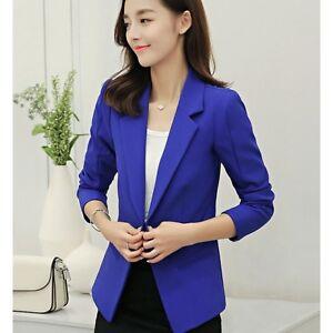 vendita calda online a12de 749ab Dettagli su tailleur giacca donna slim corta manica lunga blu elettrico  estate S9019