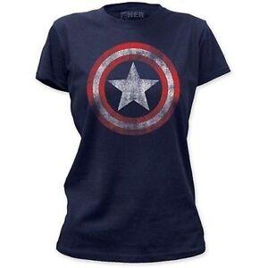 Authentic captain america bouclier vintage marvel comics juniors filles chemise s 2xl ebay - Captain america fille ...