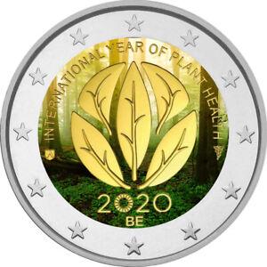 2-Euro-Gedenkmuenze-Belgien-2020-coloriert-m-Farbe-Farbmuenze-Pflanzengesundheit