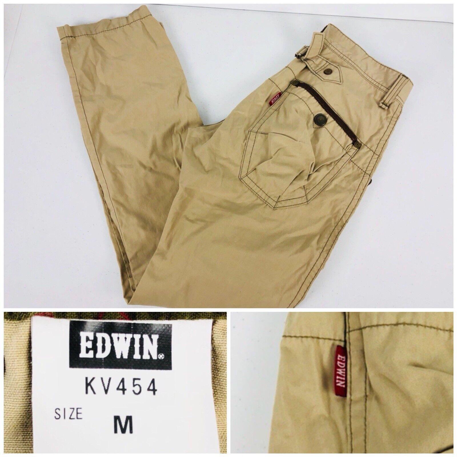 EDWIN Mens Medium Baker Pants XV Khaki Cotton Blend Exclusive Vintage