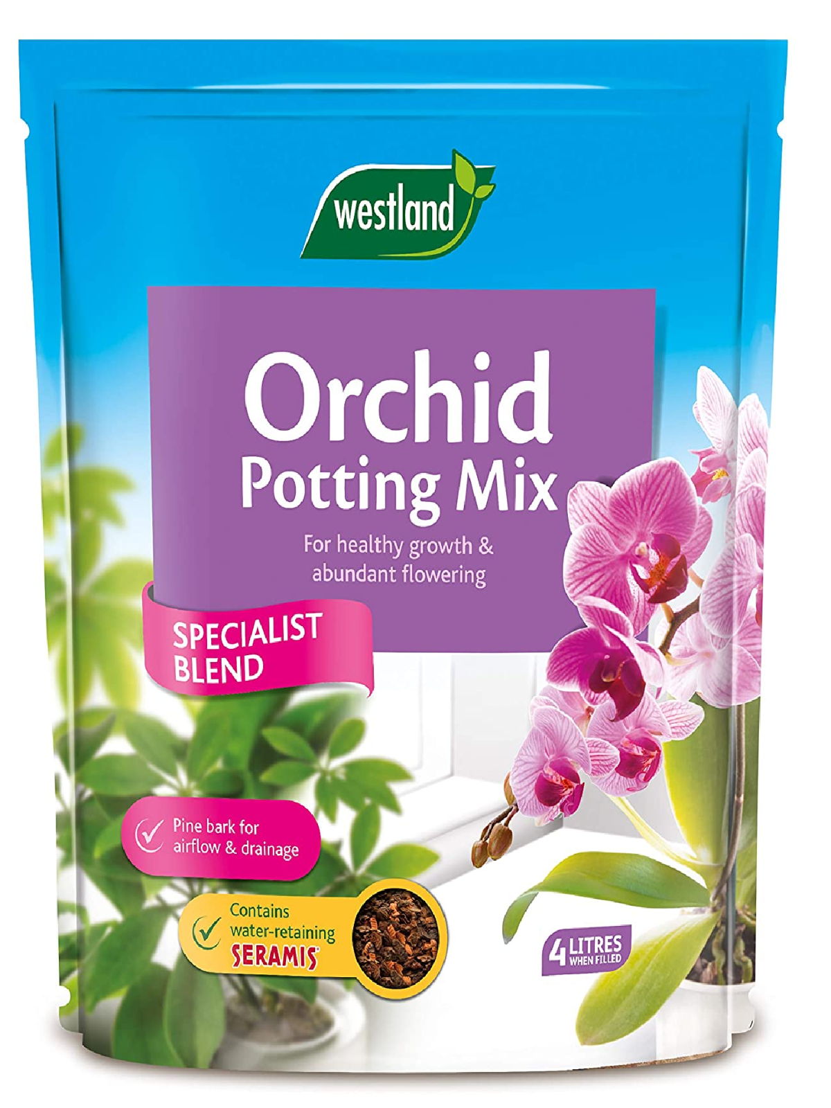 Westland Orchid Potting Compost Mix and Enriched with Seramis, 4 L.