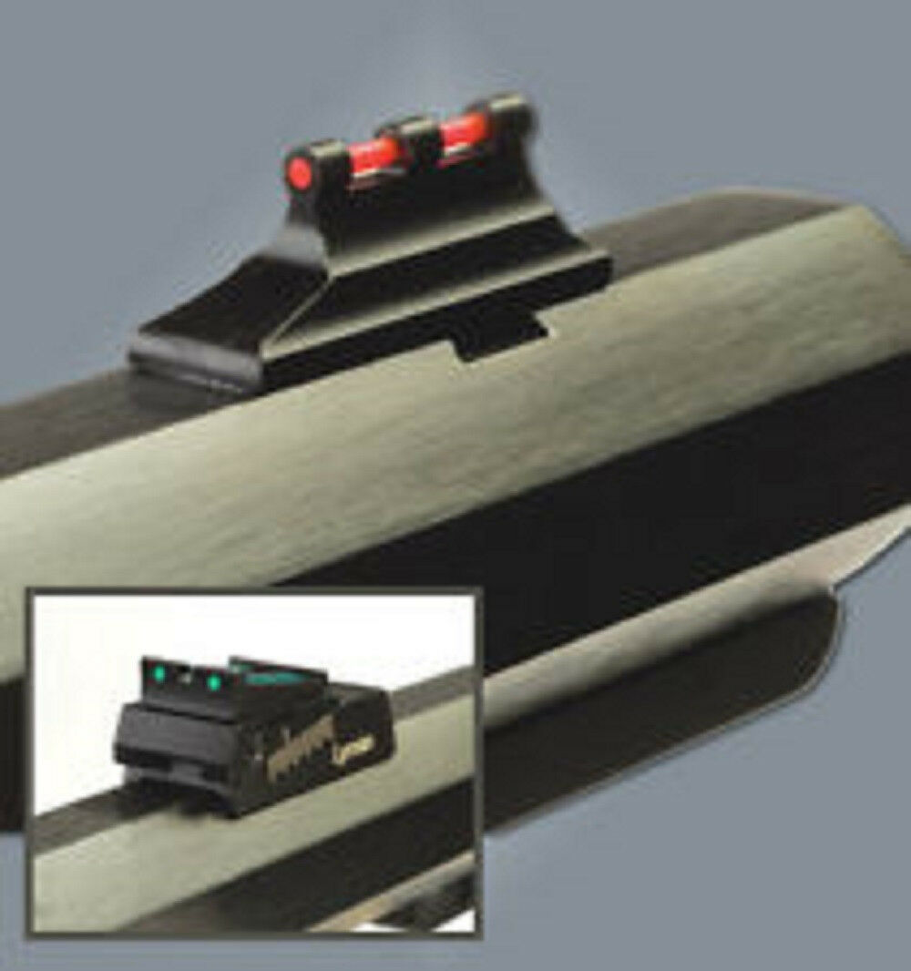 Airsoft AEG APS Rhino Front Rear Sight with Fiber Optic Set Black Green//Red