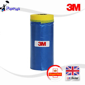 3M-900-mm-Drop-Cover-Roll-Masking-Tape-Poly-Film-Sheet-Pre-Folded-20m-Roll-BLUE