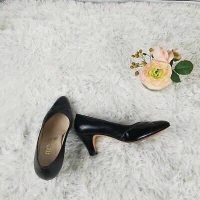 Salvatore Ferragamo Pumps 7 B Black Patent Almond Toe Slip On Womens Heel | eBay