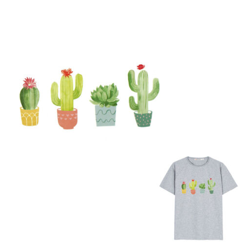 Plant cactus Irons on Stickers Washable Heat Transfer Patches T-shirt Appliqu a!