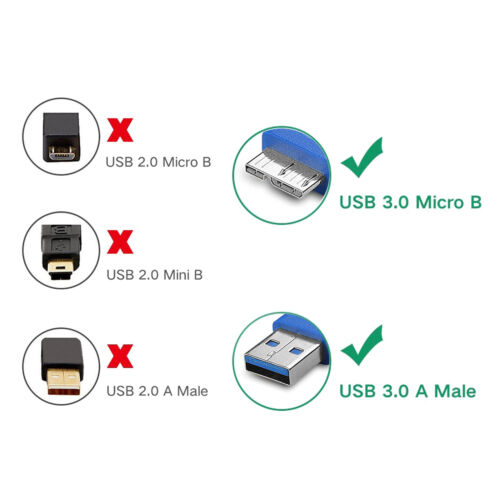 Short//Long Micro USB 3.0 Cable A to Micro B Cable fr Seagate Goflex Back Up Plus