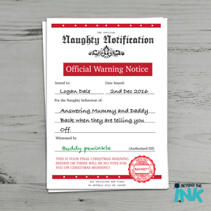 Naughty list personalised christmas warning letter certificate from image is loading naughty list personalised christmas warning letter certificate from spiritdancerdesigns Choice Image