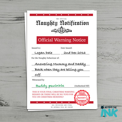 Naughty List Personalised Christmas Warning Letter Certificate From Santa Clause Ebay