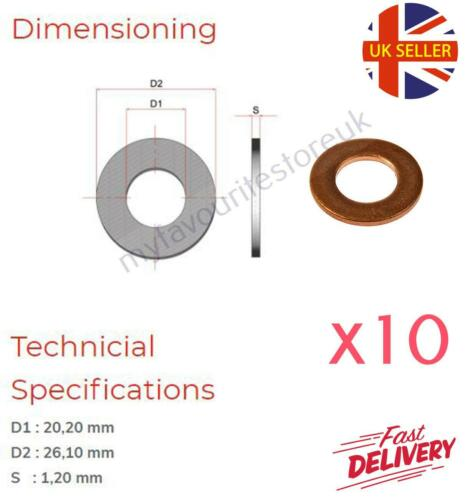 10 x M20 Copper Sealing Washers Metric Oil Plug Ring Plain Flat Hollow