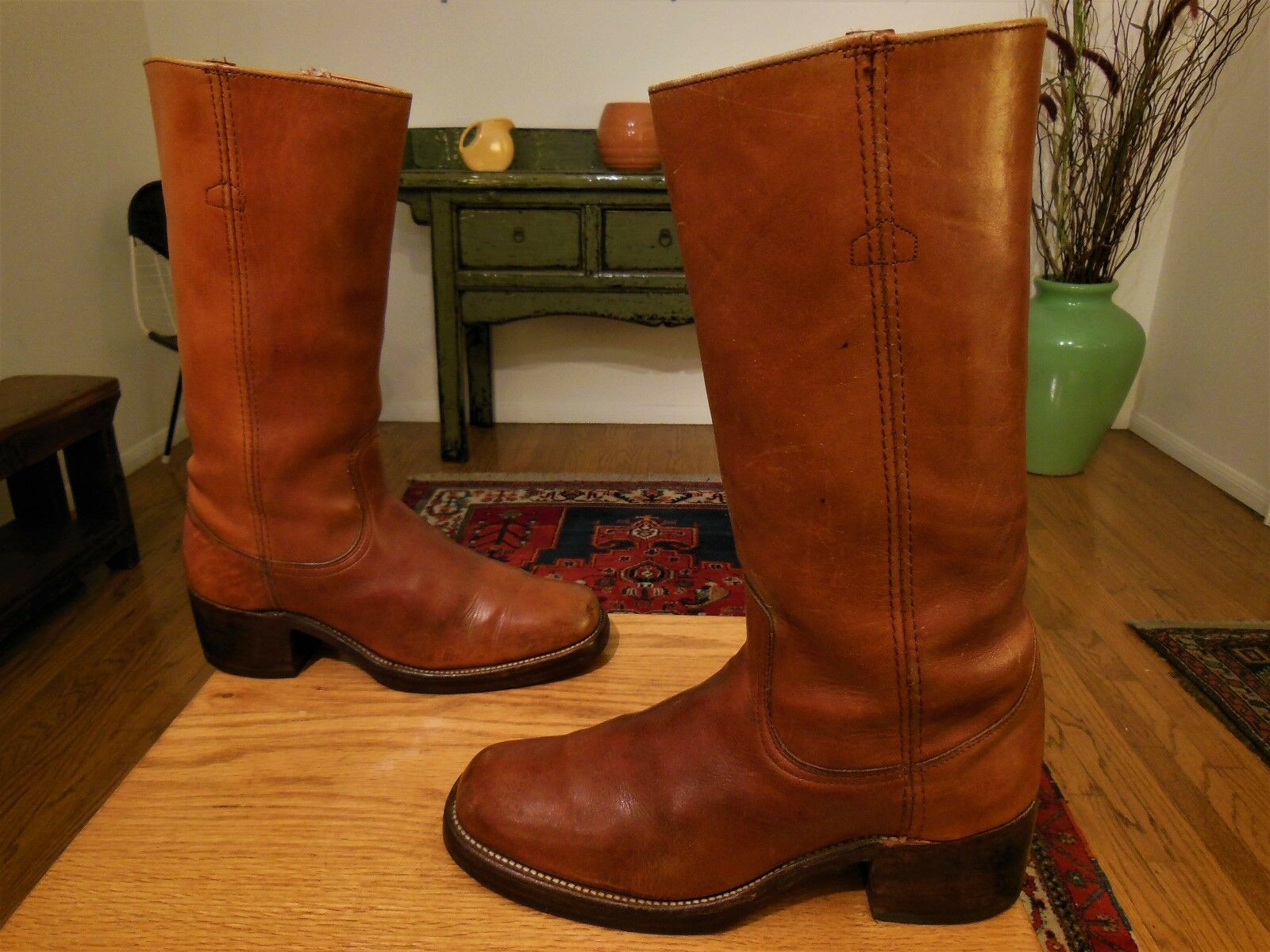 Vtg Men's FRYE 60s/70s Whiskey Brown Leather Campus Hippie Boots 9.5B USA!