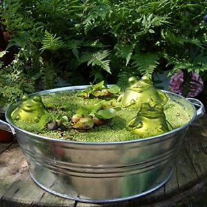 Schwimmfrosch-mit-2-Kindern-Teichdeko-Schwimmkugel-Frosch-Glas-Tier-Miniteich