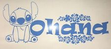 DISNEY LILO AND STITCH OHANA WITH FLOWERS VINYL DECAL STICKER