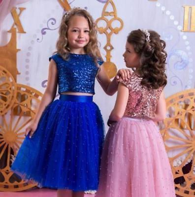 Two Piece Flower Girl Dress Kids Baby Communion Princess Party Prom Wedding Gown