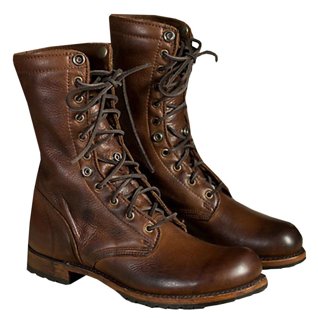 Men's Combat High-Top Lace-up Knight Boots Motorcycle Martin Shoes PU Leather