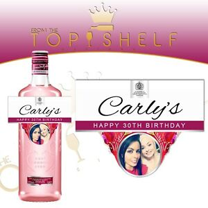 Personalised-Gordon-039-s-London-Pink-Gin-photo-bottle-label-any-occasion