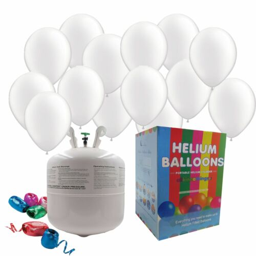 """Disposable Helium Gas Canister Cylinder Balloons with 25 11/"""" White Balloons"""