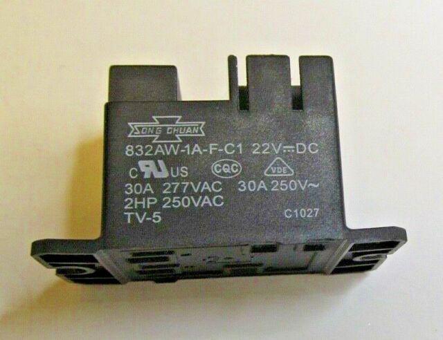 Song Chuan Relay 832AW-1A-F-C1 22 VDC Coil 30A 250v 2HP 250VAC TV-5 C1027