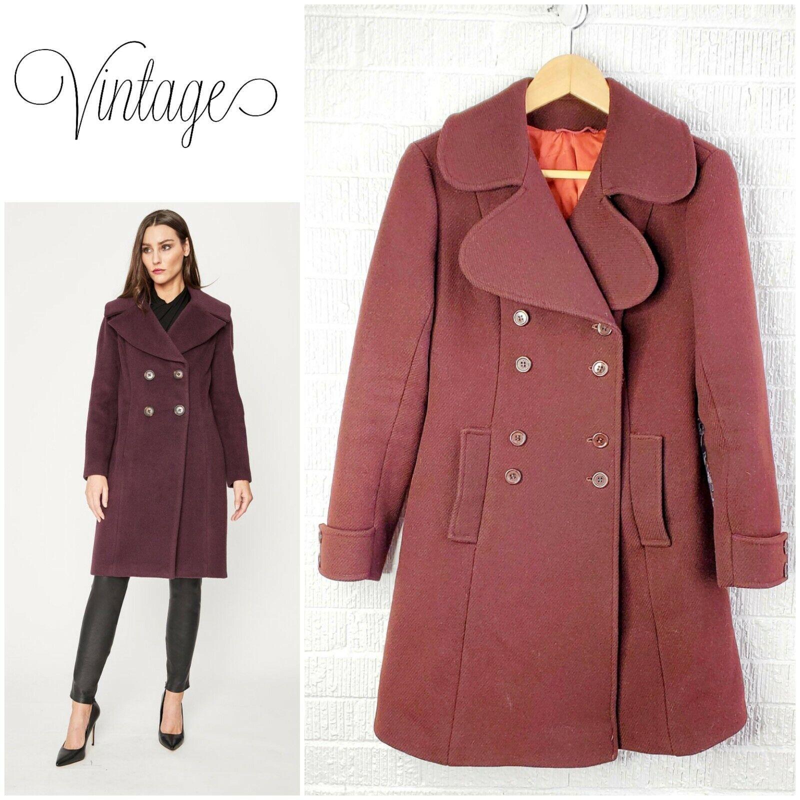 Vintage red brown wool blend princess collar coat… - image 1