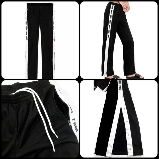 85d2746abbfae Victoria's Secret Pink Open Leg Snap Track Pants XS Black White Pockets