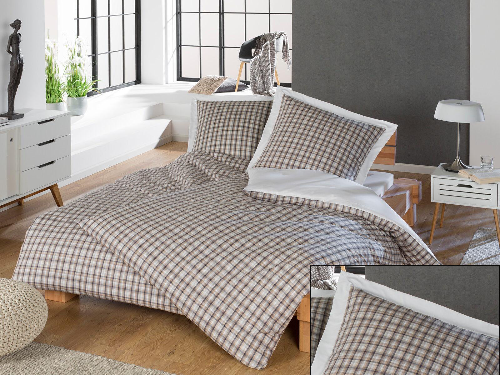 Mako Perkal Karo Wendebettwäsche mit Stehsaum braun weiß 100% Baumwolle | Gute Qualität