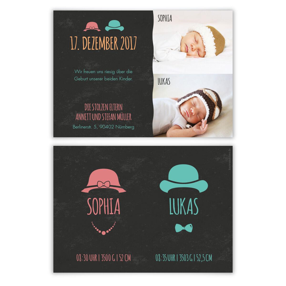 Geburtskarten - Hüte Zwillinge - Geburt Babykarten Zwillingskarten Mädchen Junge   Niedriger Preis    Bekannt für seine hervorragende Qualität