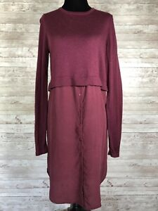72687fc8bdf0 Forever 21 Womens 100% Silk Sweater Dress Maroon Layered Loose Fit ...