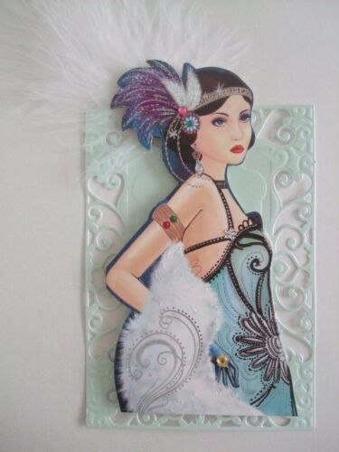 1 x H//Made Retro card Topper Lady Liesel Large Mint Green embellished