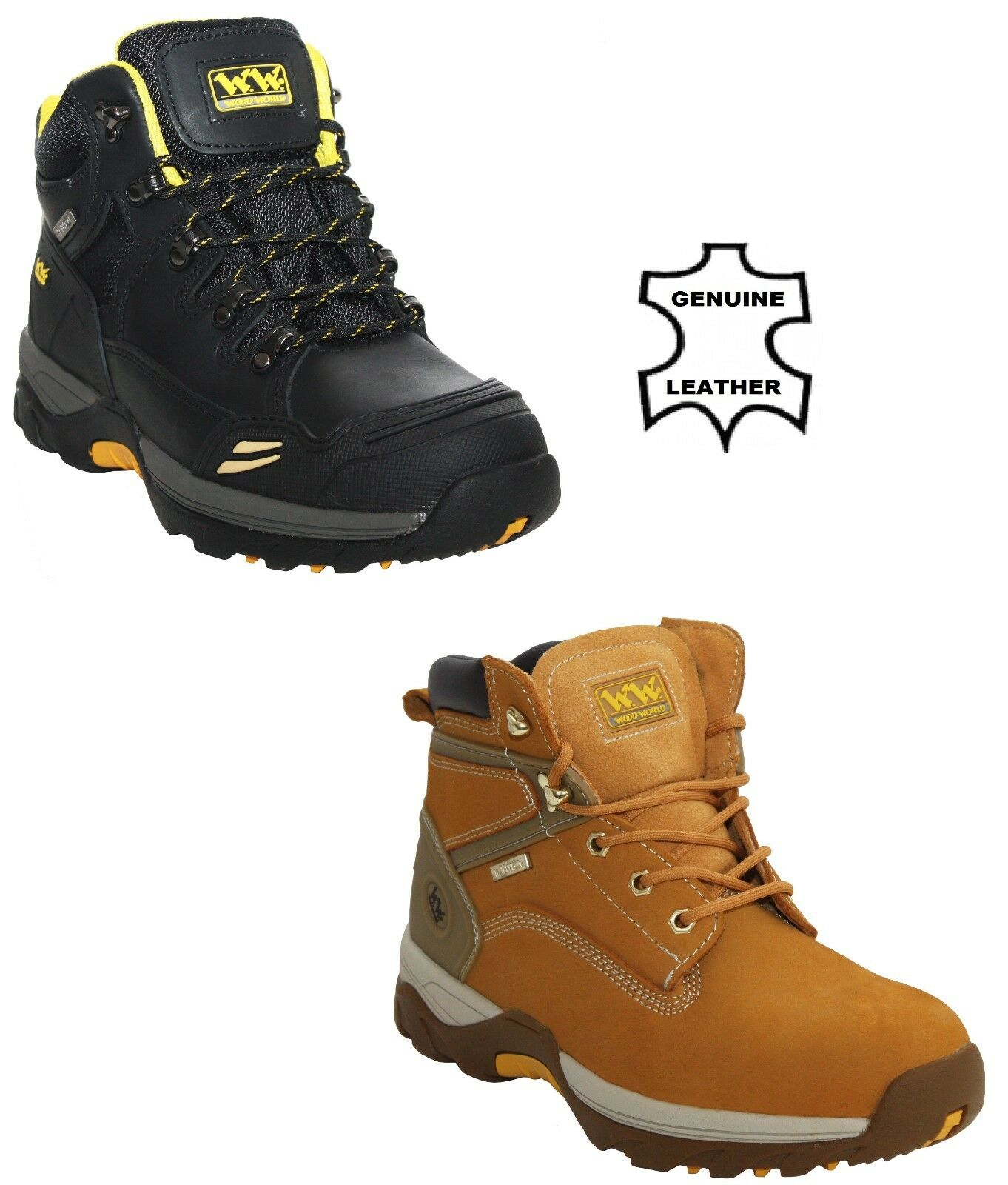 MENS WOOD WORLD SAFETY STEEL TOE WATERPROOF WORK BOOTS SIZE
