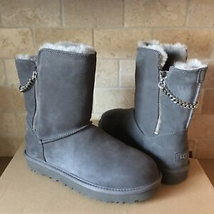 Details about UGG Classic Short Sparkle Zip Chain Charcoal Grey Suede Fur Boots Size 8 Womens