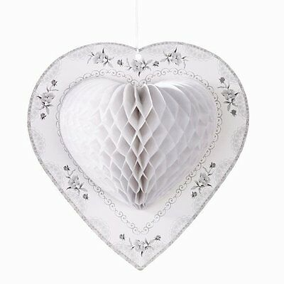 Set Of 3 Talking Tables Decadent Honeycomb White Heart Decoration Wedding Party